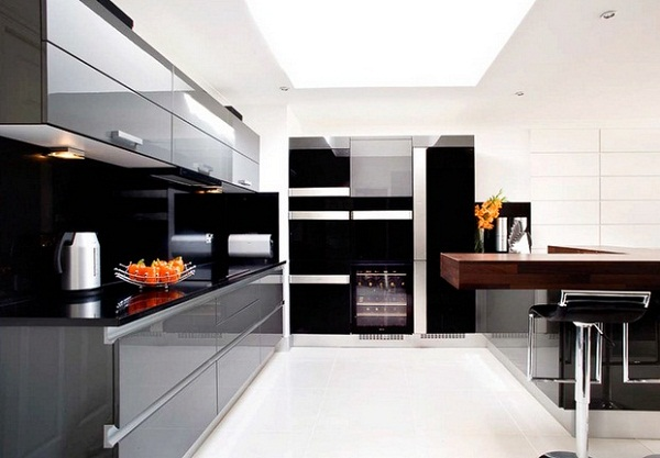 Contemporary Black Kitchen Design Ideas ~ Modern black kitchen cabinets designs