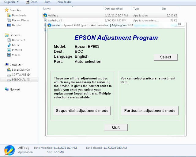 Epson Ep 603A restter