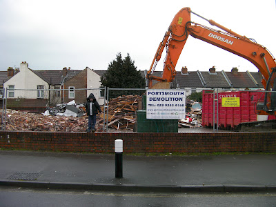 portsmouth demolition milton park pile of rubble