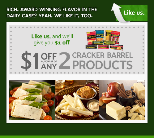 graphic relating to Cracker Barrel Coupons Printable known as $1/2 Cracker Barrel Coupon