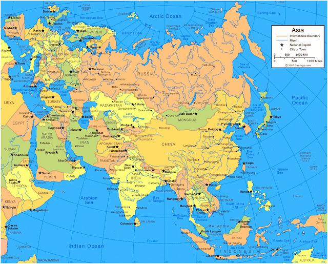 Gambar Peta Wilayah Benua Asia