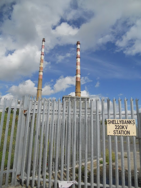 Poolbeg towers in Dublin on the walk from Sandymount Strand to Poolbeg Lighthouse