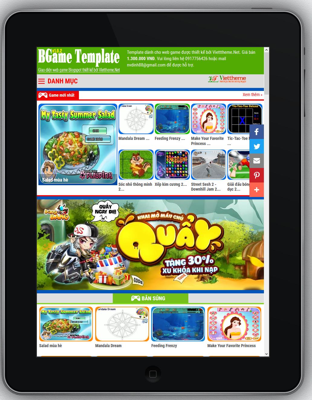 BGame v1.0.2 - Template về web game online dành cho Blogspot