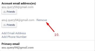 facebook email id kaise hataye