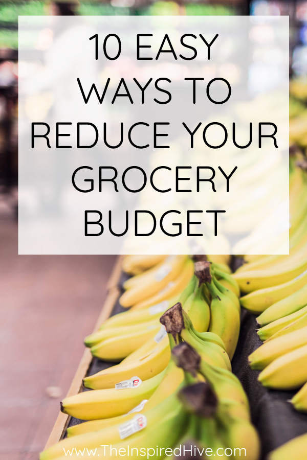 bananas in grocery store, text overlay-How to save money on groceries