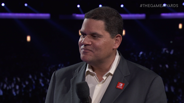 The Game Awards 2017 Reggie Fils-Aime Nintendo Switch pin smug face