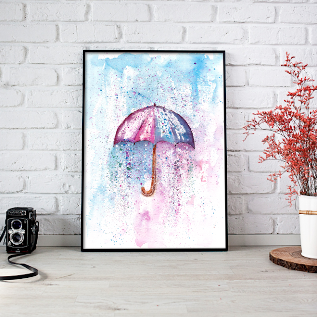 Umbrella Watercolor Painting for Sale