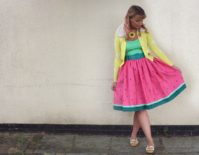 collectif watermelon jade dress, emily temple cute, orla kiely clarks shoes