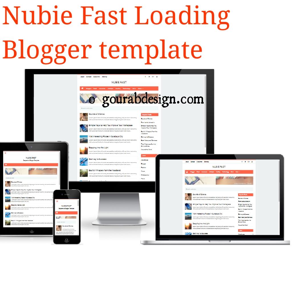 Nubie Fast - Seo Optimize Blogger Template ~ Gourab Design