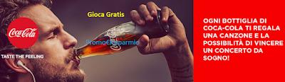 Logo Con Coca-Cola ogni bottiglia una canzone gratis e vinci un concerto