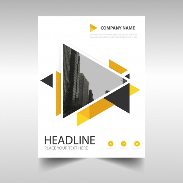 Creative business brochure with triangles Free Vector