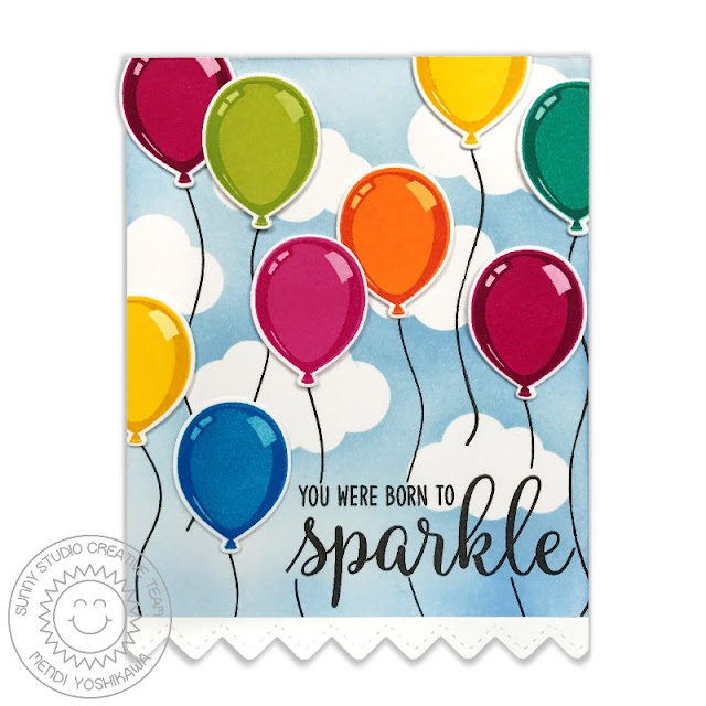 Sunny Studio Stamps: Birthday Balloon Color Layering Rainbow Balloons with Clouds Born To Sparkle Card by Mendi Yoshikawa
