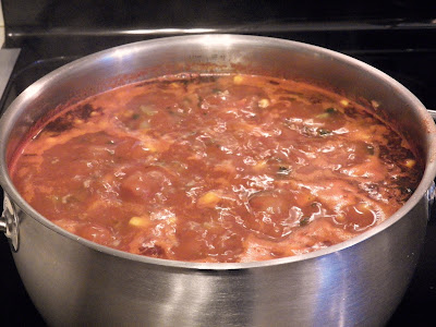 bubbling pot of minestrone soup
