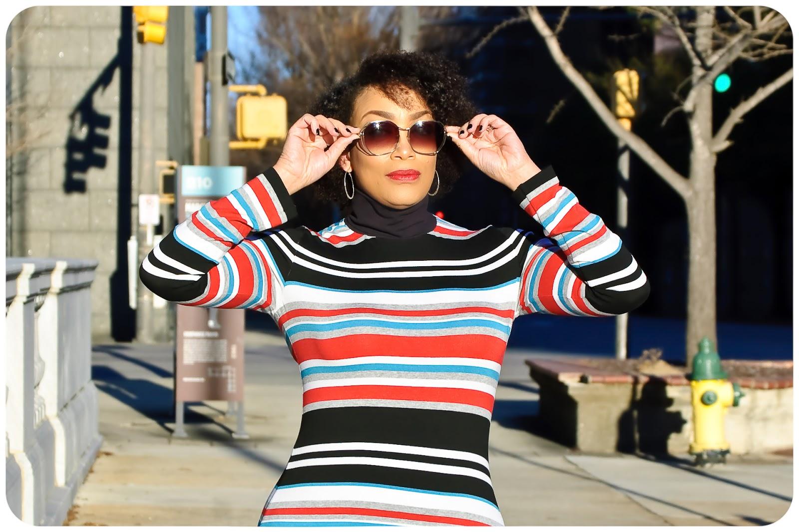 Vogue 8939 - Turtleneck Striped Midi Dress! Erica Bunker DIY Style