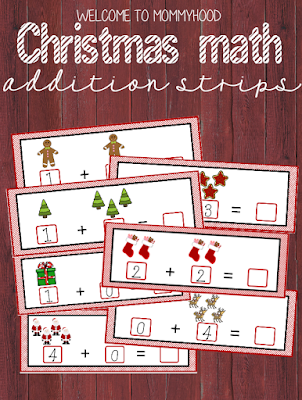 Christmas activities: addition strips for kids by Welcome to Mommyhood #montessori, #christmasactivities, #preschoolactivities, #preschool