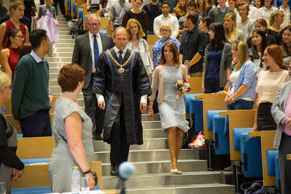 Princess Marie of Denmark arrived at Odense for a one day visit Princess Marie wore Lace dress
