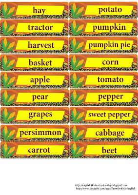 fall English vocabulary flashcards