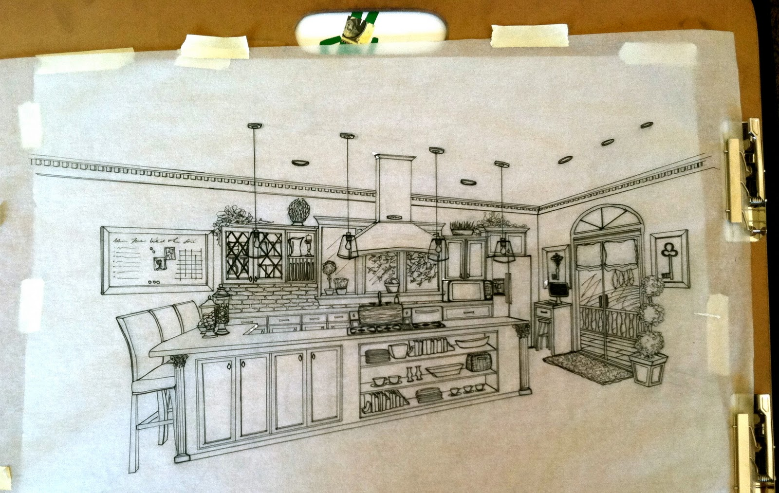 Summer Final Perspective Drawing Of A Kitchen