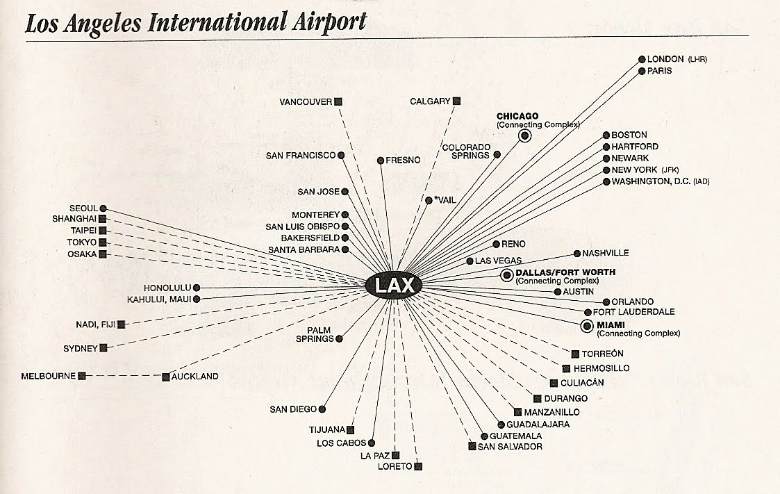 american airlines hub maps 2002 lax