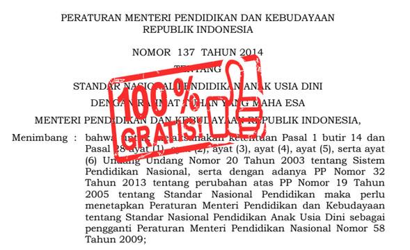 Standar Nasional PAUD Permendikbud Nomor 137 TAHUN 2014