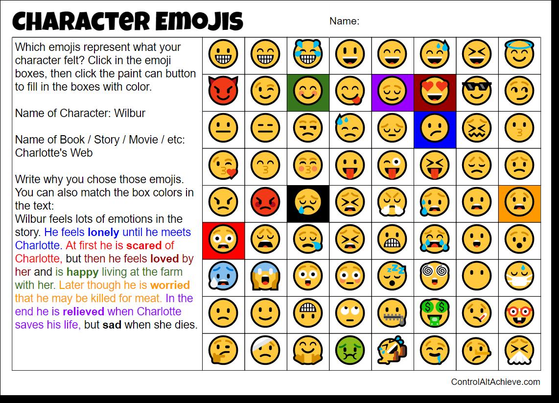 Emoji Reading Worksheet