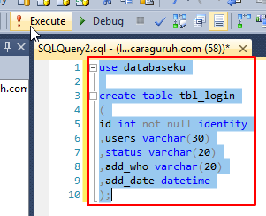 use databse, query sql, create table