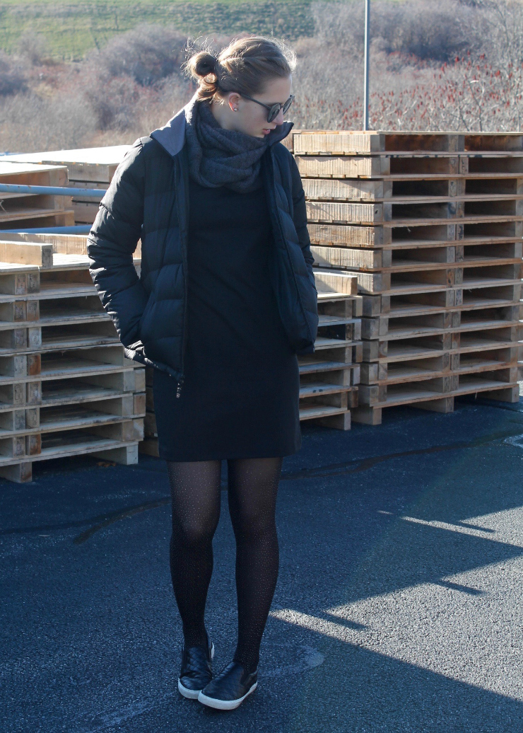 LBD, black puffer coat, grey infinity scarf, sparkle tights, black leather Chelsea boots
