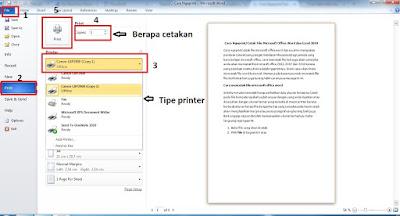 Cara Ngeprint/Cetak File Microsoft Office Word dan Excel 2010