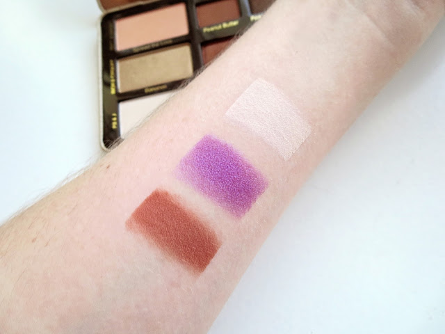a picture of Too Faced Peanut Butter And Jelly Palette Swatches (Extra Creamy, Jelly, Nuts About U)