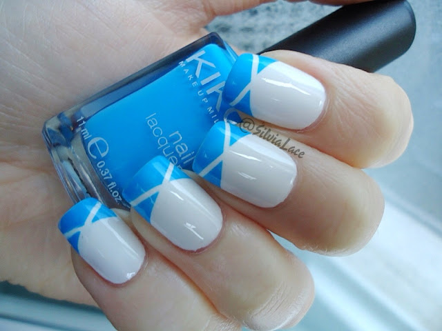 Silvia Lace Nails: Summer blue and white tape manicure