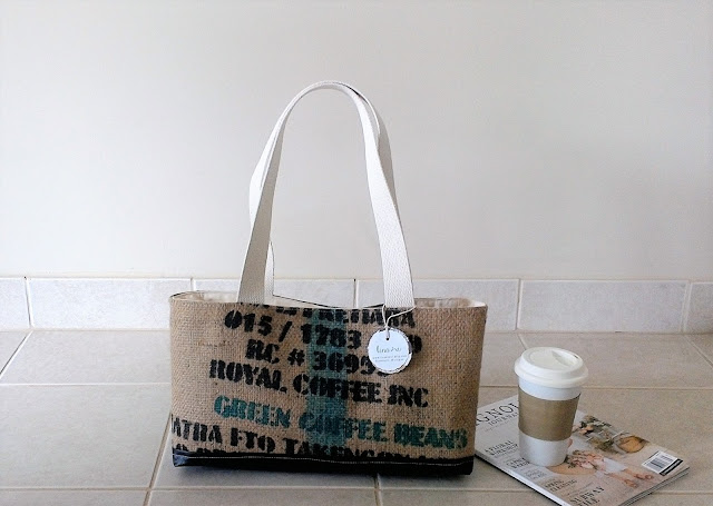 Oakland burlap tote bag by Lina and Vi Plymouth Mi