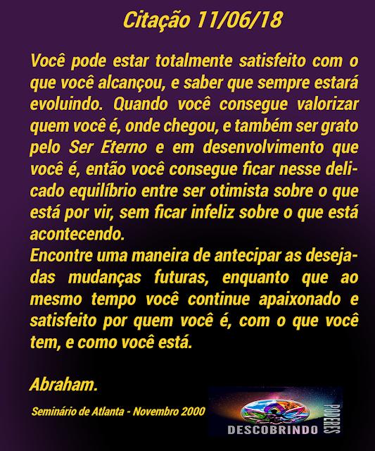 Citação Diária de Abraham Hicks - Citação do Dia 11/06/2018