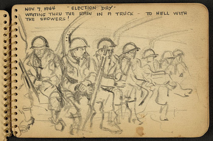 21-Year-Old WWII Soldier's Sketchbooks Show War Through The Eyes Of An Architect - Soldiers Sitting In A Truck In France