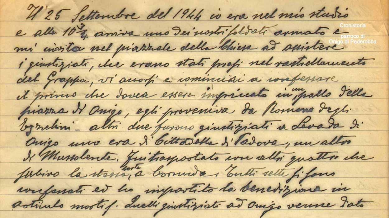 a Onigo e Levada di Pederobba e a Cornuda nella Cronistoria del parroco di  Onigo don Giovanni De Faveri. 763786ec49b1