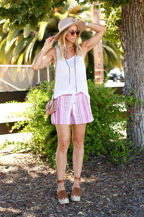 cute summer outfit free people tank striped shorts