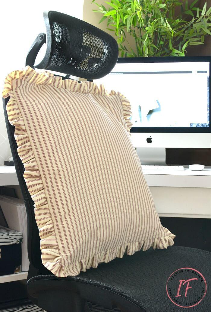 Ticking Stripe Office Chair Bolster Pillow