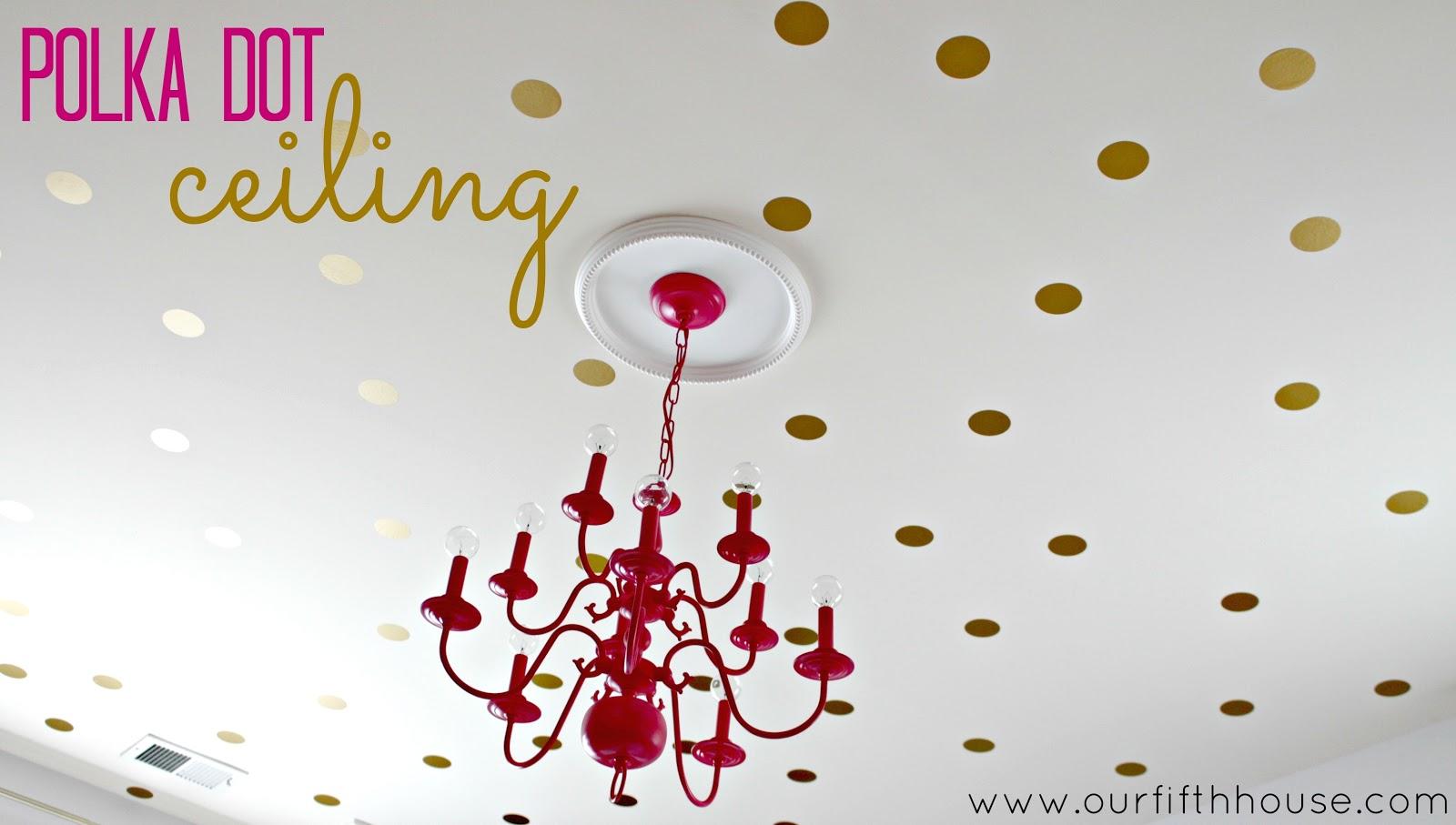 Vintage gold polka dot ceiling