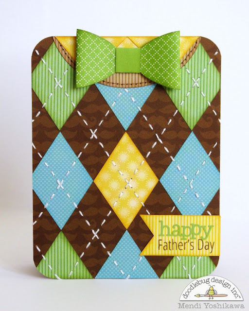 Doodlebug Design Inc. Argyle Sweater & Bow Tie Father's Day Cards by Mendi Yoshikawa