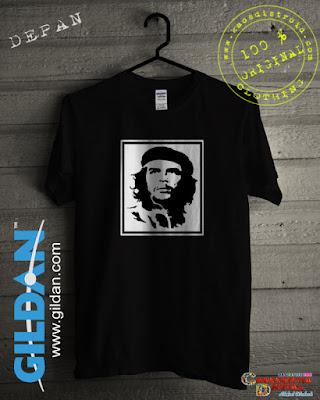 Baju Kaos DISTRO Desain Seluet Guevara Warna Hitam
