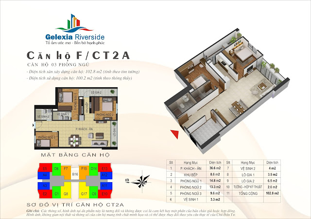 Thiết kế căn hộ F, dt 100m, 3 ngủ, tòa CT2A Gelexia Riverside