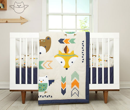 Superb The new and fresh collection Aztec by Little Love features adorable motifs of owl fox and bear in shades of navy orange teal and grey