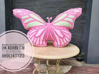 Pink Monarch Butterfly Pillow