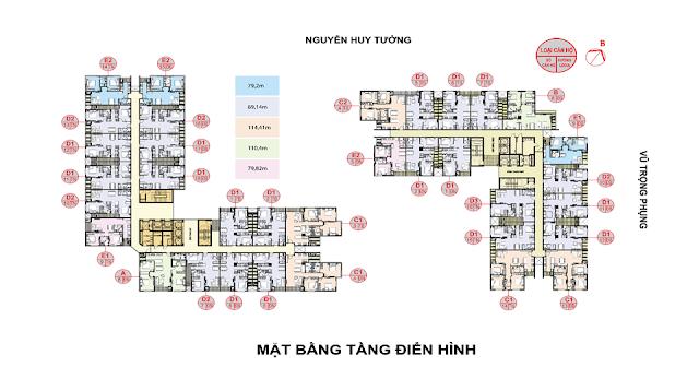 Mặt bằng điển hình căn hộ Rivera Park Hà Nội