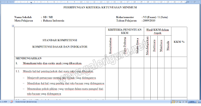 Contoh Prota Promes Dan KKM Kelas 6 KTSP
