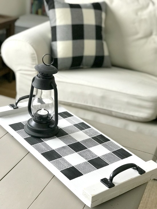 Buffalo Plaid stencil on a DIY rustic tray with matching pillows