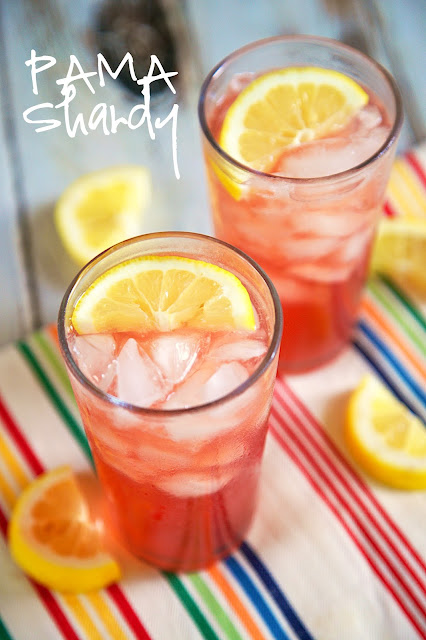 PAMA Shandy Recipe - lemonade, beer and PAMA liquor - a light and refreshing summer cocktail! I am not a beer drinker, but this cocktail really hits the spot! Only 3 ingredients!