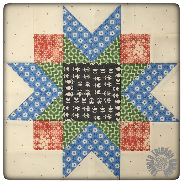 Winter Star Block from the Farm Girl Vintage Book. Made by Thistle Thicket Studio. www.thistlethicketstudio.com