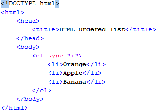HTML type Attribute in ordered list