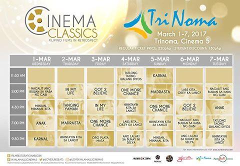 Cinema Classics - Trinoma - Schedule