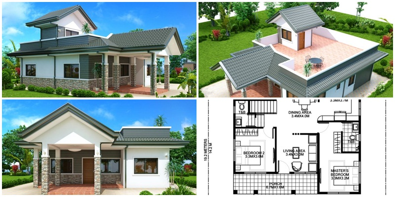 Myhouseplanshop Three Bedroom Single Story Roof Deck House Plan